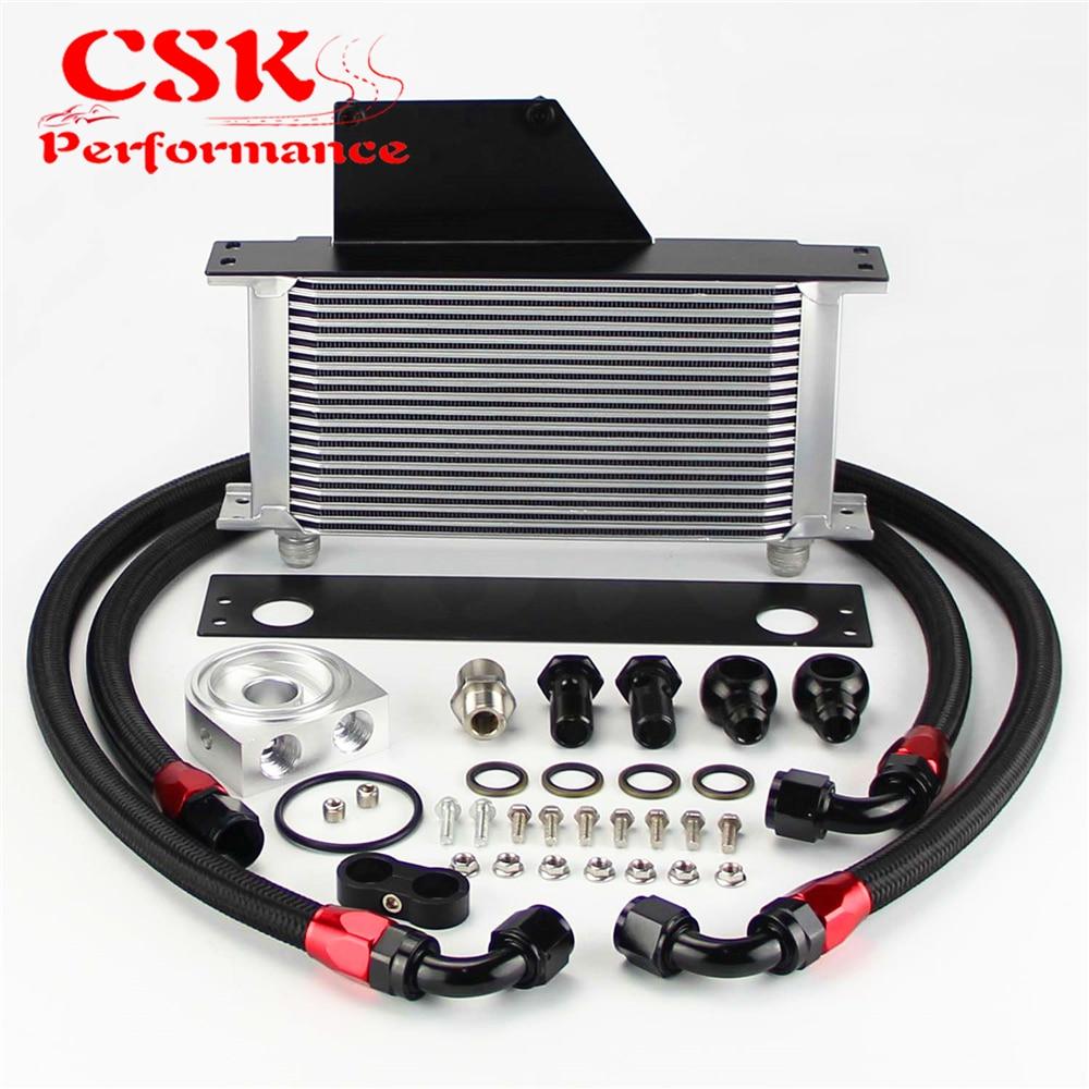 цена на 19 Row AN10 Racing Engine Oil Cooler Kit Fits For 01-05 Subaru Impreza WRX/STi Silver/Black