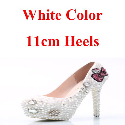 dc792fafcd Large Size Hello Kitty Rhinestone Wedding Shoes Bridal Pumps Handmade White  Pearl Women High Heels Party Prom Shoes Middle Heel