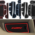 11Pcs/set with logo in car stickers car cup mat Gate slot pad  for  Toyota Camry 7th 2012 2013 2014 LHD Latex Anti non slip