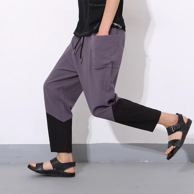 Calças dos homens Nova Moda de Verão Casuais Homens Homens calças de Alta Qualidade Harem Pants Soltas Hop Emendar Calças Cores