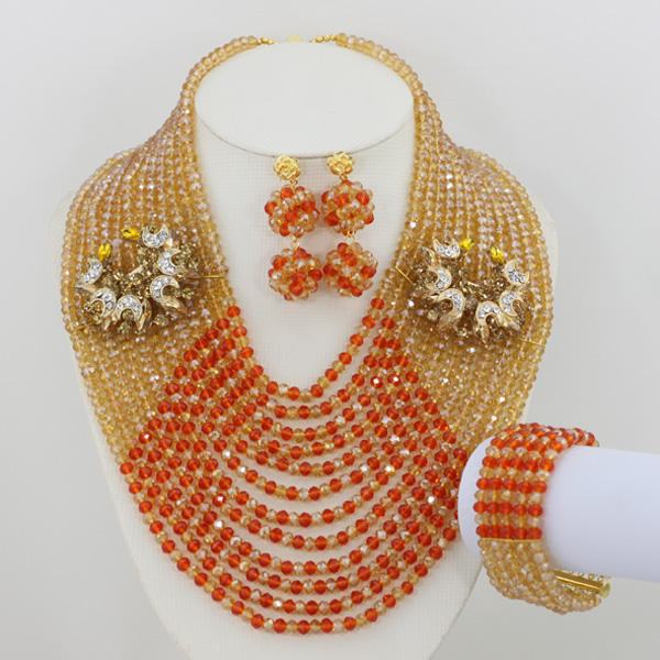 Chunky Layered Necklace African Jewelry Beads Gold Orange Crystal Nigerian Wedding African Beads Set Free Shipping ABF061 hyperbolic layered beads floral necklace for women