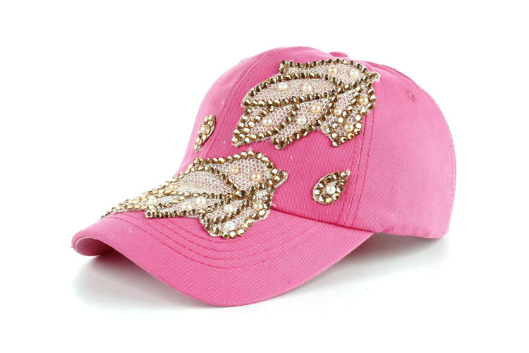 Высокое качество оптом и в розницу JoyMay шляпа Кепки Мода Досуг Стразы х/б джинсы лист Кепки S летние Бейсбол Кепки B235 - Цвет: Hot pink