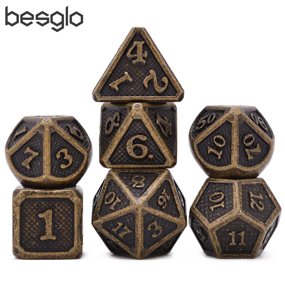 New Ancient Gold Metal Dice For Good Rolling With Pouch For DnD RPG MTG Board Games D4 D6 D8 D10 D% D12 D20