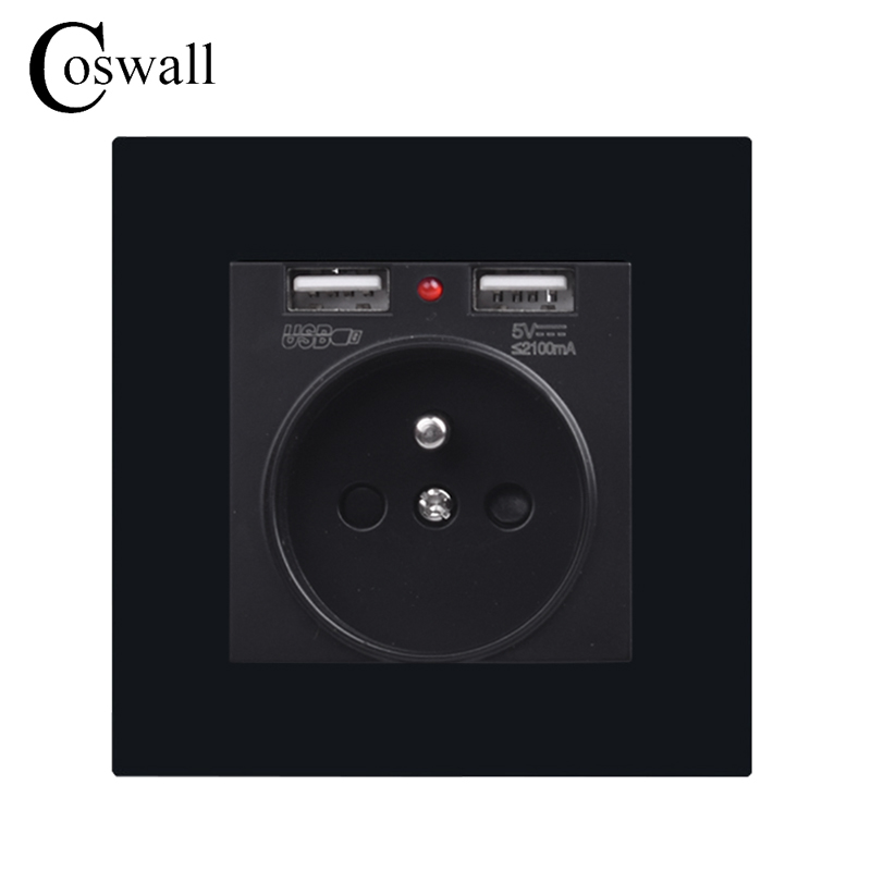 Electrical Sockets Home Improvement Coswall Black 146 Type 16a French Socket Power Outlet Dual Usb Charge Port 2.1a Wall Charger Adapter Led Indicator Acrylic Panel