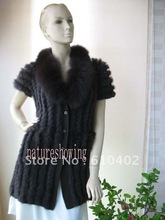 shipping  Real fox collar knitted rabbit fur long vest /new style/DARK  Brown