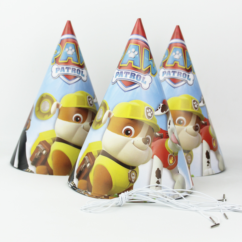 6pcs Happy Birthday Party Decoration Cute Child dogs Cartoon Pattern Birthday Paper Hat Event Kids Party Supplies
