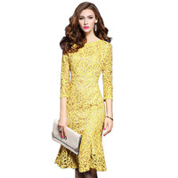 2018 High Quality Spring Dresses 3/4 Sleeve Yellow Lace Dress for Women Elegant Office Business Party Bodycon Women's Dress