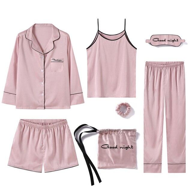 Mujeres Camiseta Completa Seda Unidades Nuevo Jrmissli Estilo Con Pijama Rosa 7 Pantalones De Longitud Oz1ZItxwtq