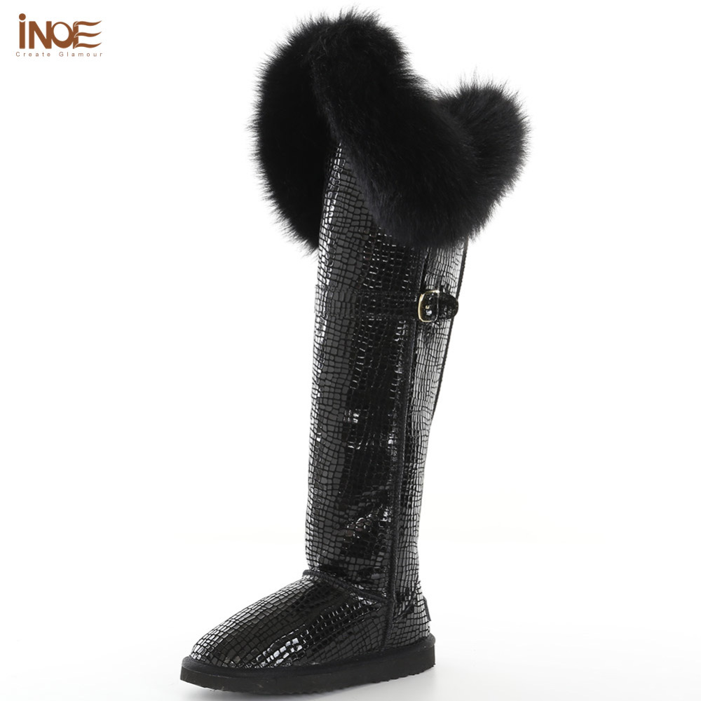 new fashion thigh real cow split leather real fox fur over the knee long winter snow boots for women winter shoes black inoe fashion big fox fur real cow split leather high winter snow boots for women winter shoes tall boots waterproof high quality