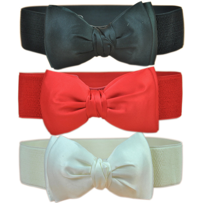 Women Lady Bowknot Stretch Elastic Bow Wide Stretch Bukle Waistband Waist   Belt   Hot Sale Fashion femme   Belt   AA