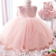 0 — 24 м 2015 высокое качество большой бант новорожденных маленьких девочек-младенцев платье кружева малышей платье принцессы красивые милые детские ну вечеринку платье