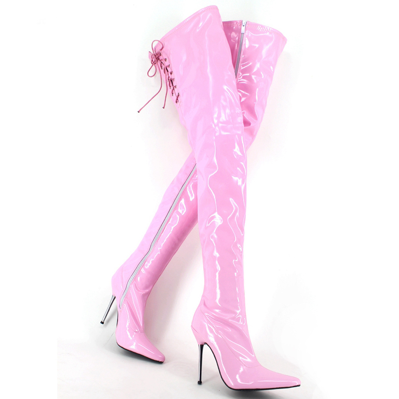 12 Cm Sexy Knee Boots Queen Patent Leather Hip With Metal Shoes Botas Mujer Metal Heels Thigh High Pointed Toe Zapatos Mujer in Over the Knee Boots from Shoes