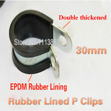 25PCS X 30mm Rubber Lined P Clips Fixing Clamp With