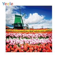 Yeele Dutch Tulip Field Scenery Windmill Landscape Personalized Photographic Backdrops Photography Backgrounds For Photo Studio