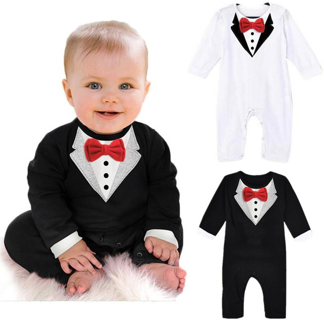 25acc8997 US $6.92 25% OFF|2017 New 100% Cotton Baby Boy Clothes Gentleman Bow Tie  Long Sleeve Romper Infant Spring Autumn Newborn Jumpsuit Toddler Roupas-in  ...