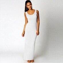 2018 Elegant Women Sexy Dress O-Neck Sleeveless Slim Maxi Dress High Stretch Tank Robe Spring Summer Thin Long Dress Vestidos