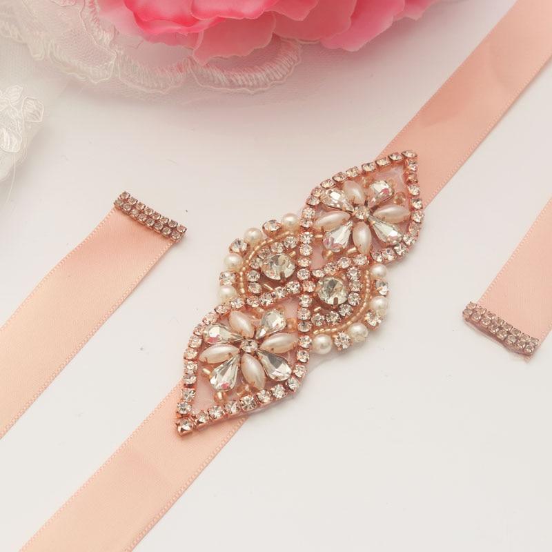 MissRDress Rhinestones Wedding Belt Rose Gold Crystal Wedding Sash Beads Pearls Bridal Belt For Women Evening Dress JK884