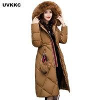 חדש 2017 אופנה בסגנון רוסיה צווארון פרווה גדולים נשים מעיל החורף ארוך גבירותיי מעיל עיבוי בגדי מעיל החורף חם גבירותיי