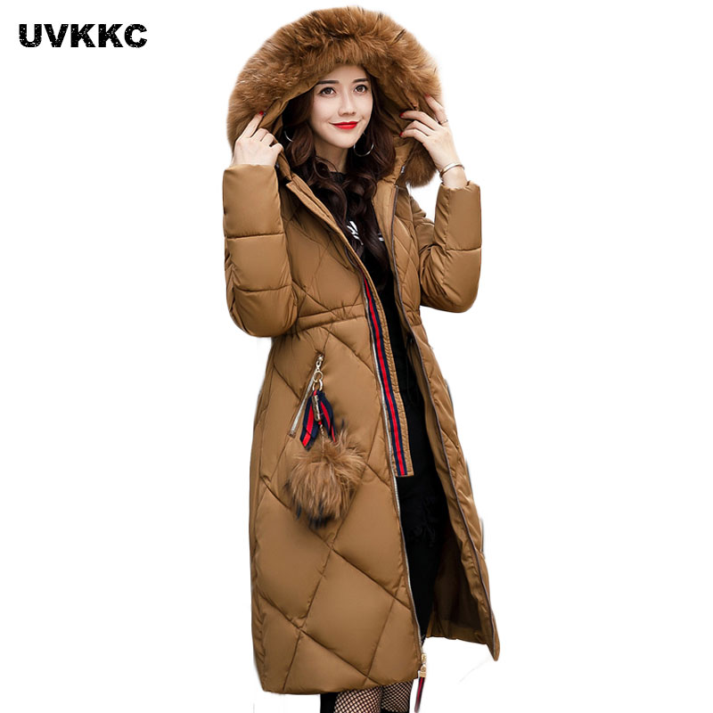 New 2017 Russia Style Fashion Winter Parka Women Large Fur Collar Coat Ladies Long Cloth ...