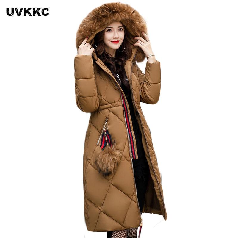 New 2017 Russia Style Fashion Winter Parka Women Large Fur Collar Coat Ladies Long Cloth ...