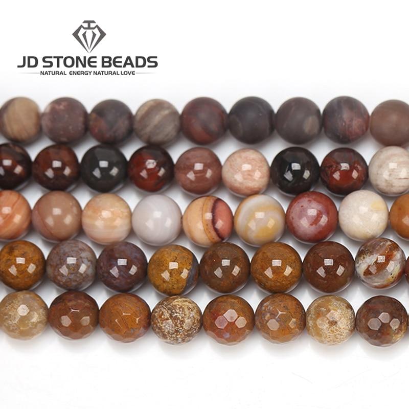 3 Farben Natürliche Versteinertes Holz Stein Matte Diy Charme Armband Perlen Für Schmuck Herstellung Einzigartige Design Edelstein Perlen Zubehör