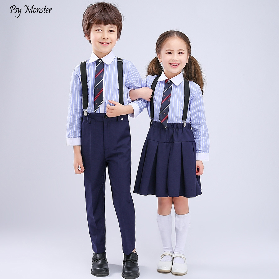 Boys And Girls Strap School Uniforms Pupils Chorus Performance Clothes  Children's Day Reading Kindergarten Dresses Costumes 4pcs|Clothing Sets| -  AliExpress