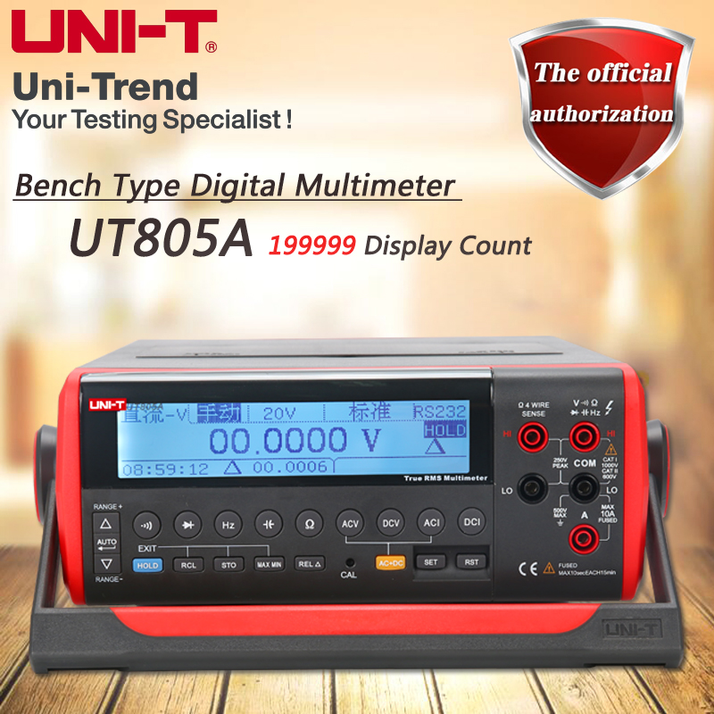 UNI-T UT805A Desktop Digital Multimeter High Precision True RMS Multimeter Liquid Crystal Display USB / RS232 Data Transfer uni t ut801 desktop digital multimeter
