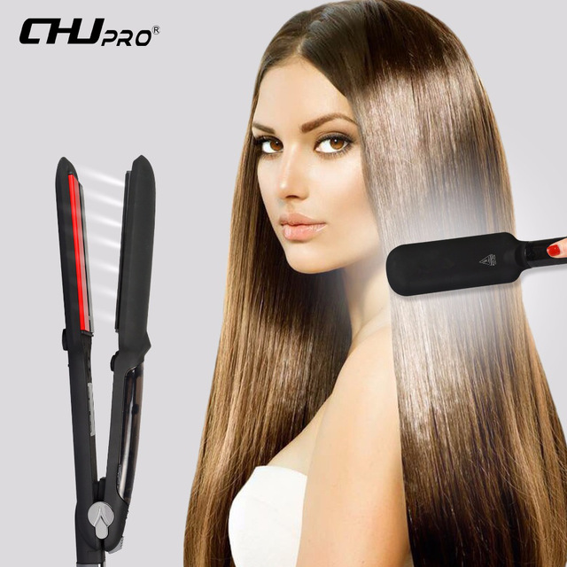 CHJ Infrared Professional Steam Function Hair Straightener Iron Ceramic Flat Iron Vapor Plate Led Hair Iron Steamer Chapinha chj professional steam hair straightener brush ceramic flat iron vapor chapinha electric steam hair straightener comb hair irons