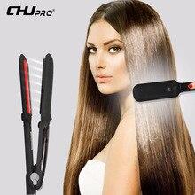 лучшая цена CHJ Infrared Professional Steam Function Hair Straightener Iron Ceramic Flat Iron Vapor Plate Led Hair Iron Steamer Chapinha