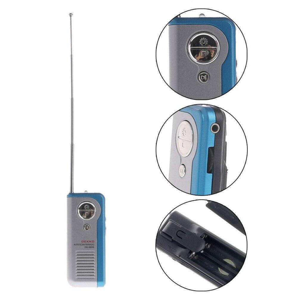 Mini Tragbare Auto Scan Fm Radio Empfänger Clip Mit Taschenlampe Kopfhörer Dk-8809 Mit Hoher Empfindlichkeit Geräuscharm Noch Nicht VulgäR Tragbares Audio & Video Radio