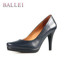 BALLEI Luxury Woman Fashion Spring Pumps High Quality Genuine Leather Pointed Toe Sexy Thin Shoes Solid Elegant X24