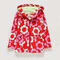 Meninas casacos com capuz Flor trench Casacos para menina Crianças casaco Roupas para crianças KD 3-8y Capa de Chuva A Primavera Vento Impermeável Marca