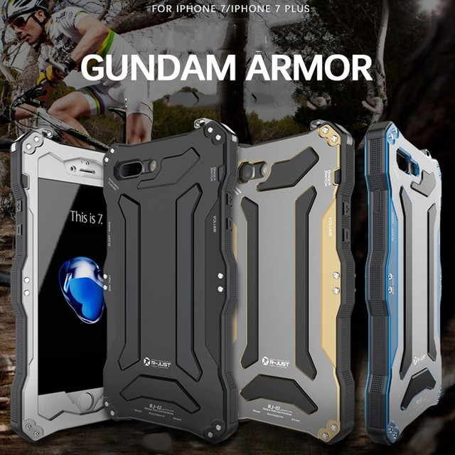 R JUST Gundam Armatura del Metallo di Alluminio Della Copertura di Caso per il iphone 5 s SE 6 6 s 8 più di 7 8 7 più di X XS Vita Impermeabile antiurto Telefono Custodie