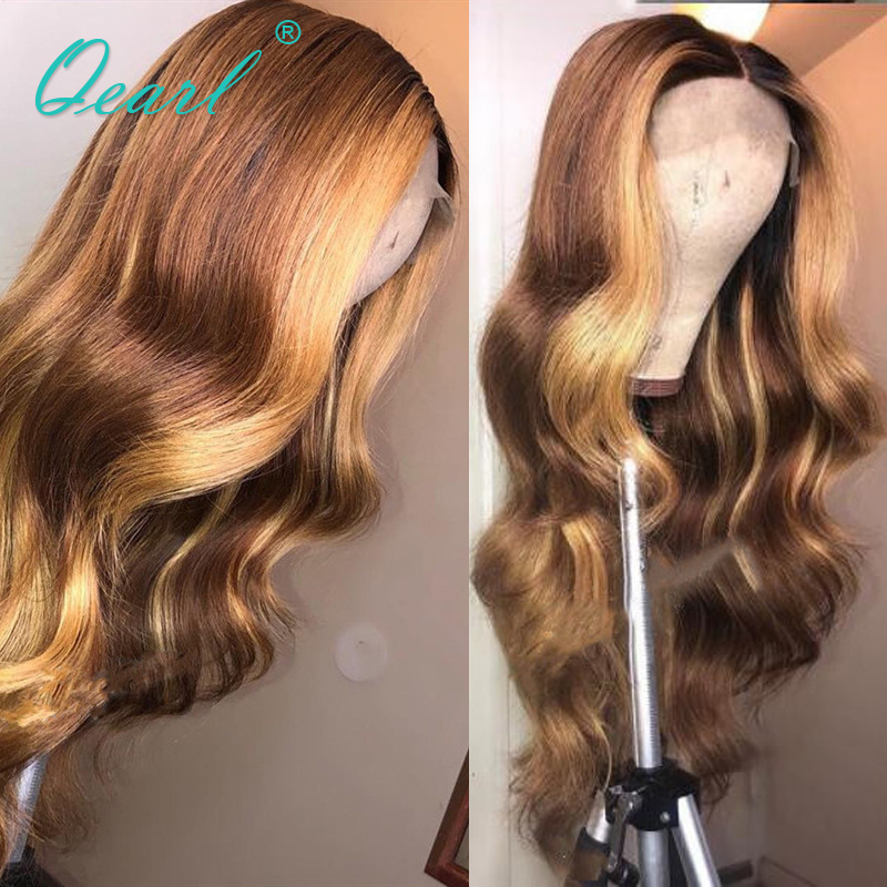 Human Hair Lace Front Wig Brown with Honey Blonde Highlights 13x4 13x6 Body Wave Wigs for