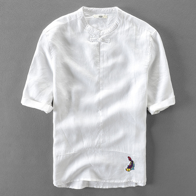 chemise hommes 100 courtes hommes blanc lin Lin chemises à manches BZwrqExAw8