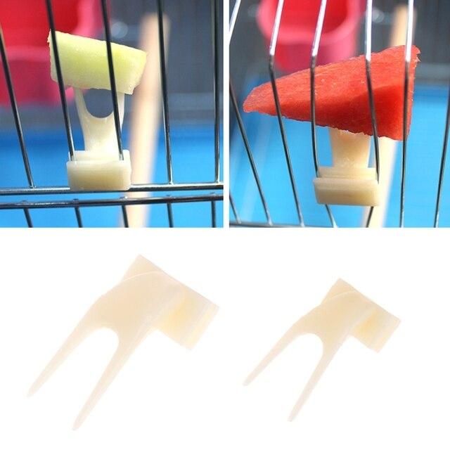 2 piezas aves loros de la fruta tenedor para mascotas suministros de alimentos de plástico de alimentación en la jaula para mascotas