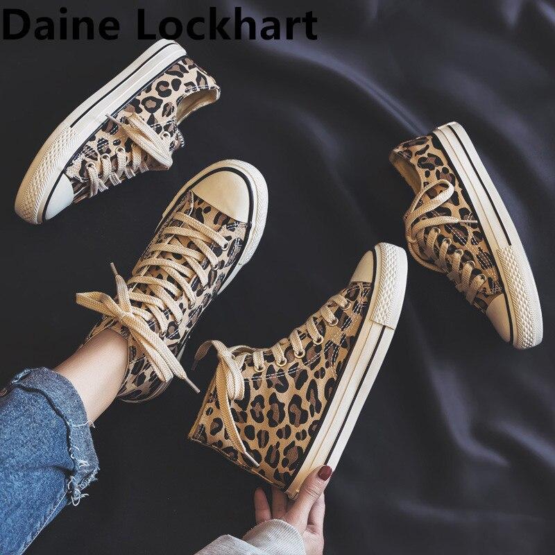 Women Flats Leopard Lace up High Top Shoes Ladies Canvas Vulcanized Shoes Female Sneakers Fashion Casual Platform Shoes