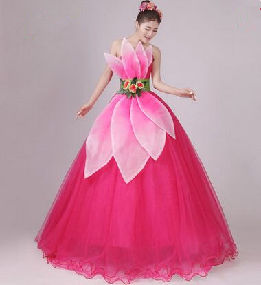 chinese modern dance costumes wedding dance dress for women red dancer clothing flower dance clothing