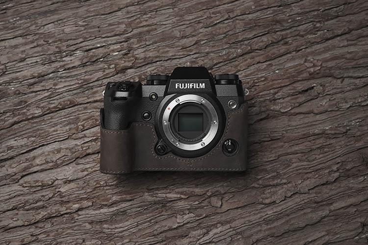 Cámara De Cuero PU Funda Cubierta botton media agarre para Fujifilm X-T1 XT1 Negro