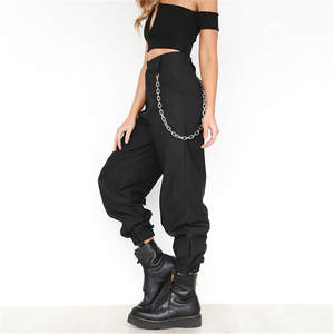 Casual Pants Trousers Chain Elasticated Loose Street High-Waist Women New Long Solid