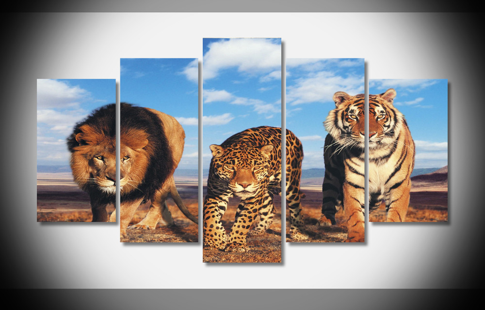 8383 Big Wild Cats Tiger Leopard Lion 3 In 1 Animal Poster