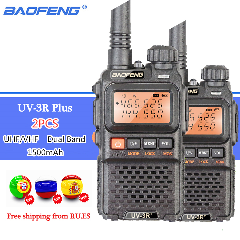 2PCS BAOFENG UV 3R Plus Dual Band Wireless Portable CB Walkie Talkie UV3R Intercom FM Transceiver