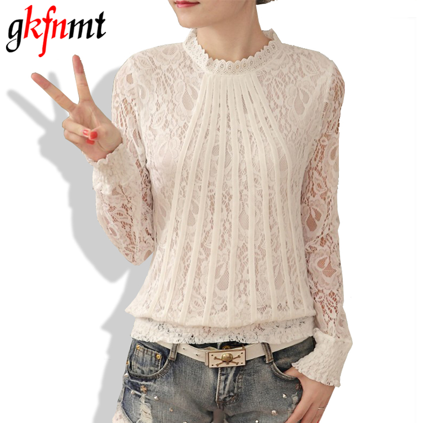 Gkfnmt New 2018 Autumn Women Blouses White Lace Blouse Plus Size Long Sleeve O-neck Korean Casual Lady Blouse Lace Tops XXXL