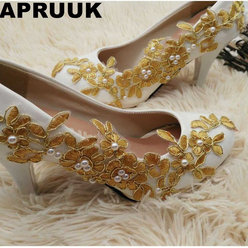 Women's fashion gold lace dinner evening party pumps shoes plus sizes low high heels custom made bridal wedding shoes lace high low swing evening party dress