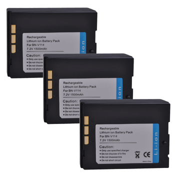 3Pcs PowerTrust BN-V114 1550mAh BN V114 V114U Battery for JVC GR-DVP1 GR-DX100EK GR-DX45 GR-DVP3 GR-DX106 GR-DX48 GR-DVP3 Camera фото