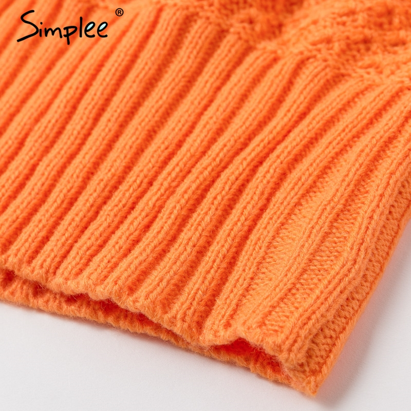 Simplee Orange turtleneck knitted women pullover sweater Vintage ladies wide long sleeve autumn winter sweater Casual jumper 8