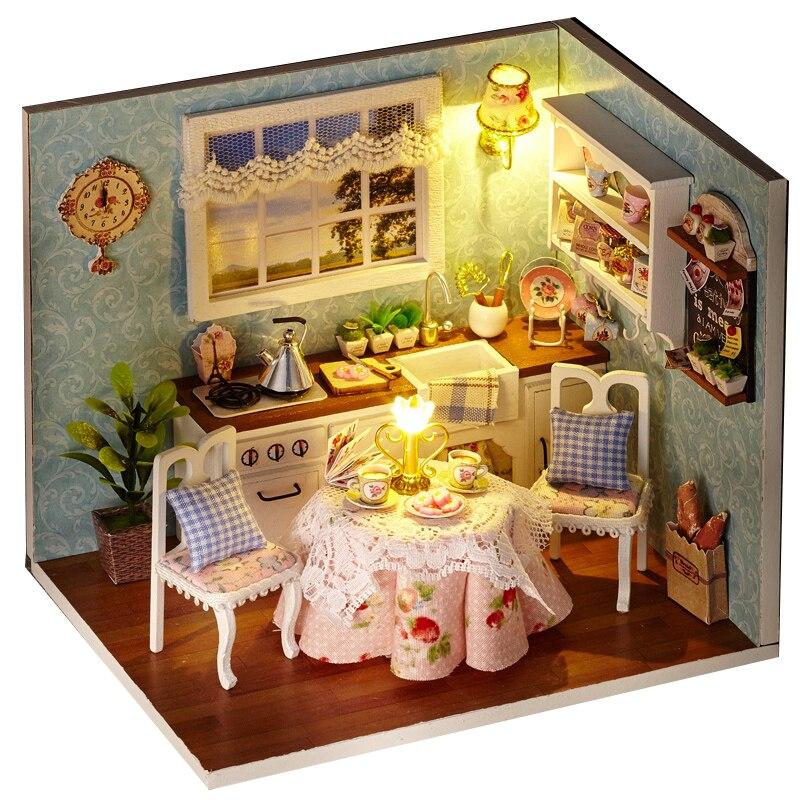 Cutebee DIY Rumah Miniatur dengan Furniture LED Musik Debu Penutup Model Blok Bangunan Mainan untuk Anak-anak Casa H08