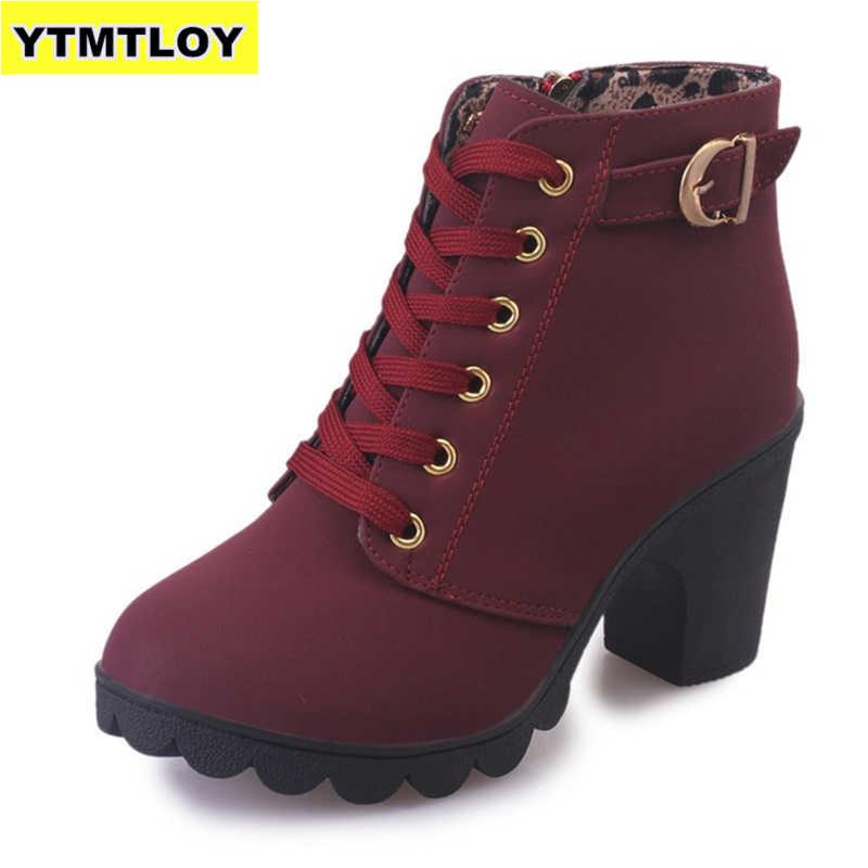 Artı boyutu 35-43 kış rahat kadın pompaları sıcak yarım çizmeler su geçirmez yüksek topuklu kar 2020 ayakkabı Botas Patent Botas mujer