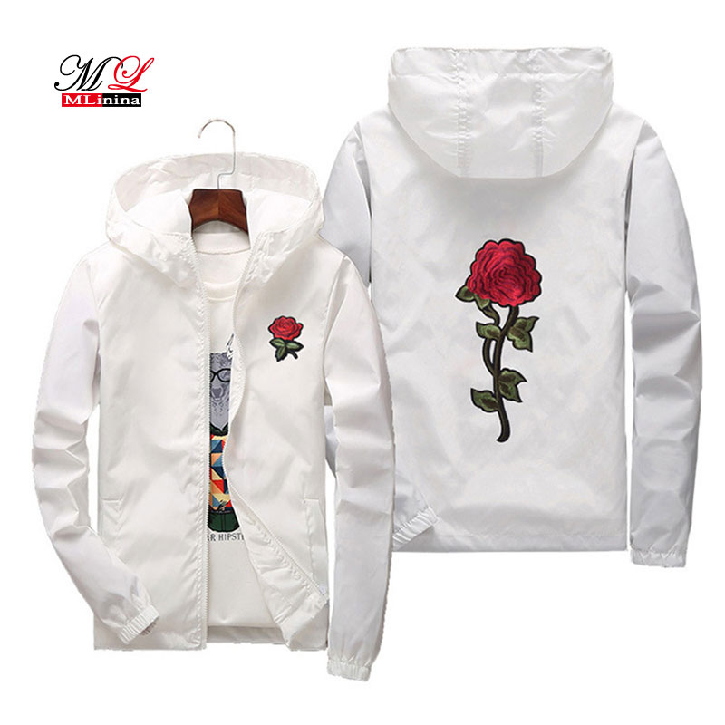 Mlinina Women   Basic     Jackets   2018 Hooded   Jacket   Coats Embroidery Rose Causal Plus Size 7XL Windbreaker Women Bomber Famale White