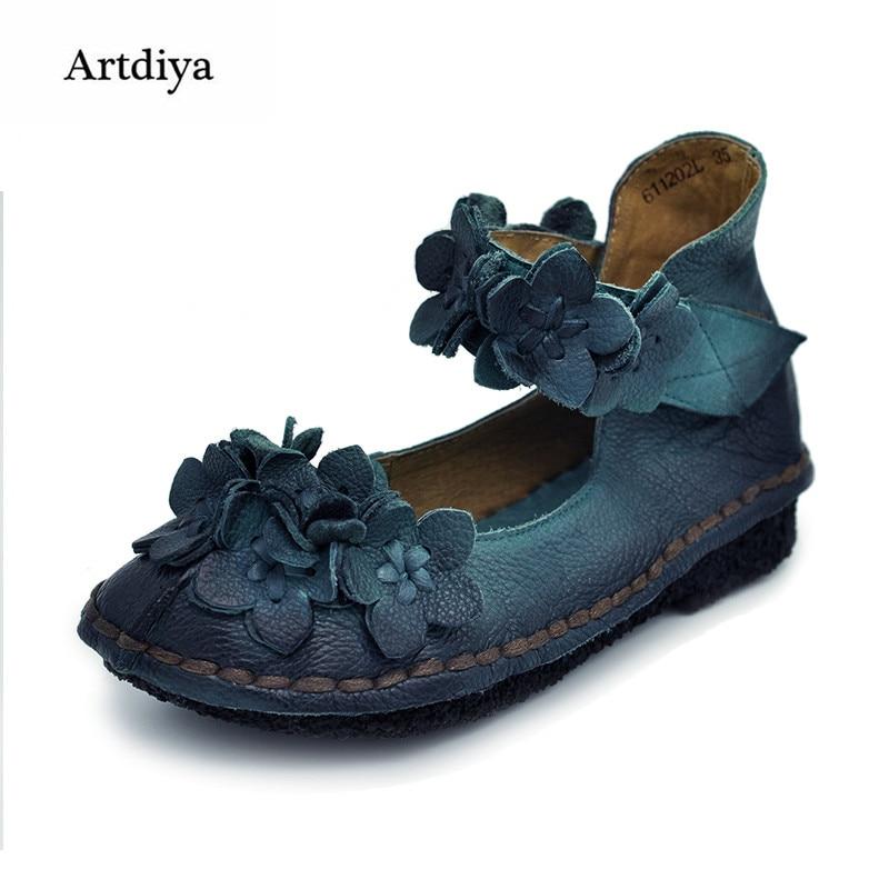 Artdiya 2018 Vintage käsitöö naiste kingad magus lill Ehtne nahk madalad kontsad kingad pehmed õõnes kingad 611202L
